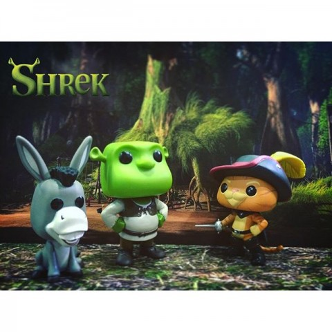 shrek with puss in boots and dockey funko pop