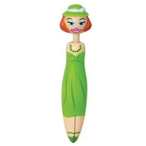 STATIONERY :  GREEN FASHION LADY CLICKER PEN